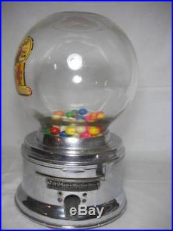 Vintage 1950's Ford 1 Cent Gumball Machine Glass & Chrome