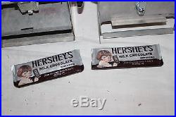 Vintage 1950's Handy Candy 5c Hershey's Chocolate Bar Metal Vending Machine Sign