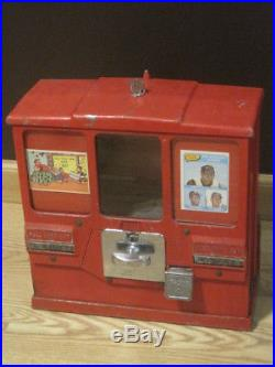 Vintage 1950's Oak Premiere Baseball Card & Gumball 10¢ Cent Vending Machine