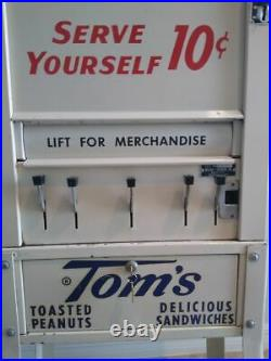 Vintage 1950's Tom's Toasted Peanuts 10 Cent Vending Machine Rare Size and Color