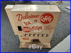 Vintage 1950's Wall 10 Cent Vending Machine Coffee, Tea, Soup, Hot Choco Packs