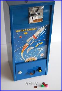 Vintage 1950s 1-Cent Rocket Hit the Target Space-Themed Gumball Machine Nice