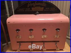 Vintage 1950s RARE Perfume-A-Spray Coin Operated Vending Machine & Keys