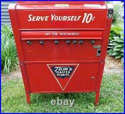 Vintage 1950s Tom's Peanuts Snack Vending Machine 68 In. Tall Works