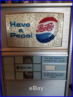 Vintage 1960 Pepsi-cola Vendorlator 81 Bottle Soda 10 Cent Coin Operated Machine