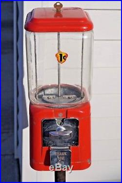 Vintage 1960's 1 Cent Peanut Gumball Coin Op Vending Machine Metal Pipe Stand