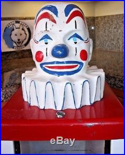 Vintage 1960's King Koin Harby Komet Clown Head Coin Operated Vending Machine