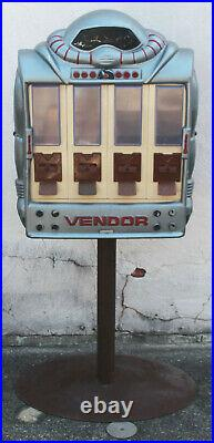 Vintage 1988 Vendall Vendor Robot 4 Slot Gumball Vending Machine with Base Stand