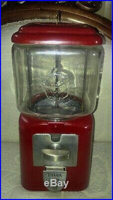 Vintage 1 Cent Acorn Embossed RED Gumball Machine with Key working glass globe