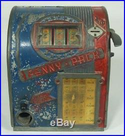 Vintage 1 Cent PENNY PACK Cigarette Trade Stimulator Slot Machine Gumball NR