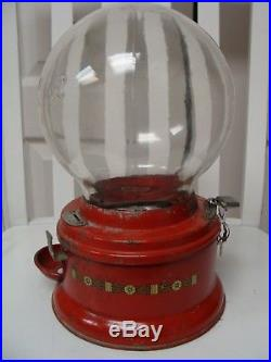 Vintage 1¢ Penny Ford Gumball MachineRare Embossed Script All-Round Glass Globe