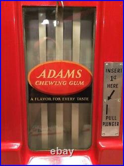 Vintage 1 cent Adams Chewing Gum Vending Machine coin op general store gumball