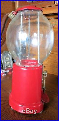 Vintage 1 cent Candy Machine Red with Original Key Glass Dome