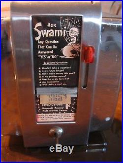 Vintage 50's Swami Fortune Teller Napkin Holder Coin Op Machine