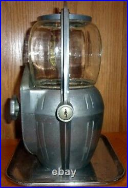 Vintage 5 Cent Aluminum Peanut Bubble Gum Machine With Key MCM Art Deco