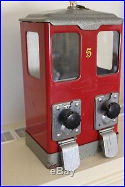 Vintage 5 Cent Lawrence 2 Column Bulk Vending MachineGumballCandyPeanutsMCM