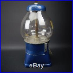 Vintage 5 cent Gumball Machine Blue Working Original Un-Restored by Abbey Mfg