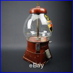 Vintage 5 cent Gumball Machine Working Original Un-Restored by Abbey Mfg