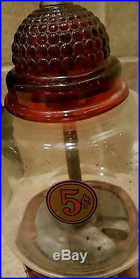 Vintage 5 cent Hot Nut, Peanut/Gumball Coin Operated Vending Machine