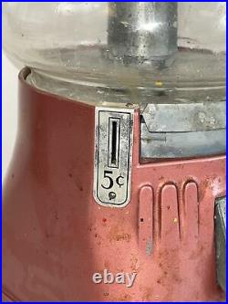 Vintage 5 cent Silver King hot nut vending machine for parts restore WITH KEY