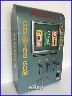 Vintage ADAMS Chiclets Coin Operated Vending Gum Machine Arcade Diner