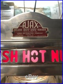 Vintage AJAX HOT NUT VENDING MACHINE 5c & 10c