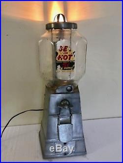 Vintage ASCO Get Em Hot Peanut 5 Cent Vending Machine Working Light Octagonal