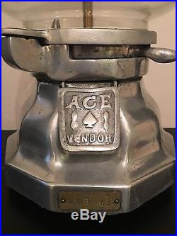 Vintage Ace Vendor Gumball Peanut Dispenser Coin Operated WME 44