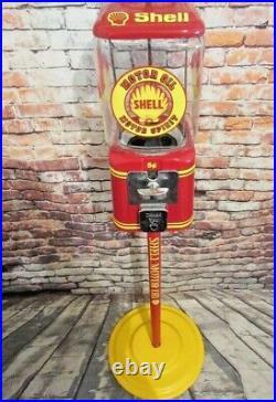 Vintage Acorn Shell Motor oil glass globe gumball machine + stand man cave bar