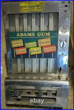 Vintage Adams 1 Penny Coin Operated Gum Chiclets Dentyne Dispensing Machine