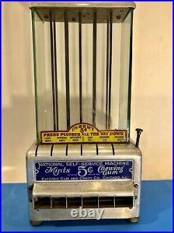 Vintage Antique 1925 RARE National Self-Service 5 Cent Mints & Gum Machine