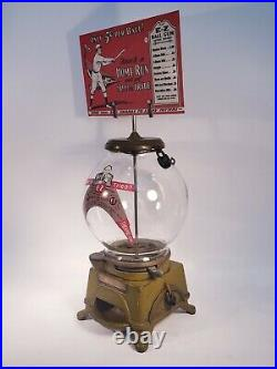 Vintage Antique Ad-lee E-z Gumball Peanut Machine With Marquee