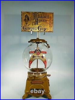 Vintage Antique Ez Adless Gumball Machine With Adams Gum Marquee