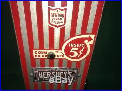 Vintage Antique Hershey Candy Chocolate Vending Machine 5 Cent