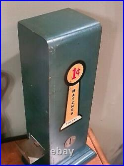 Vintage/Antique WOODEN PENNY Match Book Dispenser/Vending Machine 1 CENT
