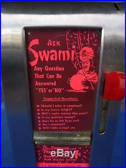 Vintage Ask Swami Fortune Dispenser Napkin Holder One Cent Coin-Operated 1950's