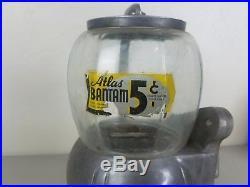 Vintage Atlas Bantam Candy Store Gumball 5 Cent Vending Machine