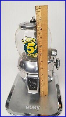 Vintage Atlas Bantam Nickel Coin Operated Peanut Vending Machine Works 2 Keys
