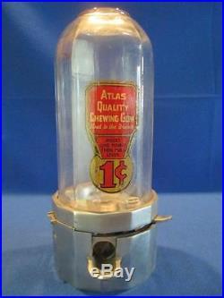 Vintage Atlas Midget Gumball Machine Betty Barker 1 Cent Coin Op Vending