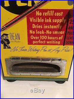 Vintage Ball Point Pen Coin OP Metal Coin Operating Dispenser Dean Rite Master