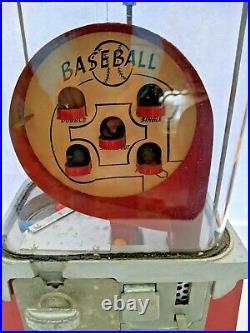 Vintage Baseball Pinball One Cent Gumball Machine Circa 1950's Works With Key