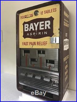 Vintage Bayer Aspirin Vending Machine Coin Op Dispenser 25 cents Rare