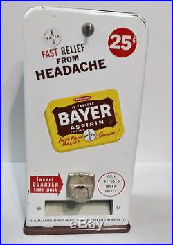 Vintage Bayer Aspirin Vending Machine Dispenser With Key
