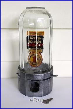 Vintage Betty Barker Atlas Midget Gum Penny 1 Cent Gumball Machine WithKEY 1950's