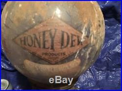 Vintage CAST ALUMINUM GUMBALL MACHINE ANTIQUE Rare Honey Dew Decal
