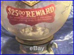 Vintage CAST ALUMINUM GUMBALL MACHINE ANTIQUE Rare Honey Dew Decal ZOOM Picture