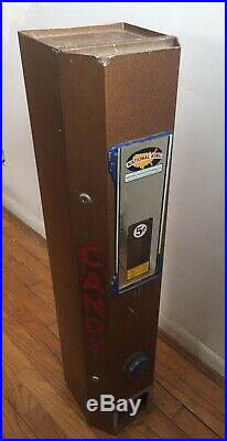 Vintage Candy Bar Machine National King 5¢ Vending Machine With Key