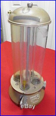 Vintage Cent A Mint Candy Dispenser Machine 5 Cent Glass Tubes Metal Heavy, Rare