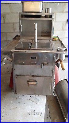 Vintage Classic New York City Stainless Steel Hot Dog food Push vendor Cart NY