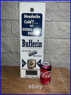 Vintage Coin Op Dispenser Bufferin Aspirin Vending Machine